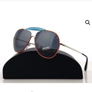 Prada Special Eyewear Orange and Blue Aviators